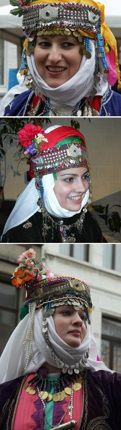 Traditional bridal/festive headgears of the Alevi villages west of Edremit (Balıkesir province).  Mid-20th century.  Ethnic group: Tahtacı, Alevi Türkmen.  Some constituents of the headgear are late 19th / early 20th century (small plates with chains, copper/nickel/silver coins).  (Kavak Folklor Ekibi & Costume Collection-Antwerpen/Belgium).