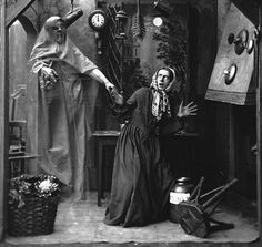 An 1860s picture of a woman getting a scare from an 'apparition'. Photograph: Hulton Archive/Getty Images.