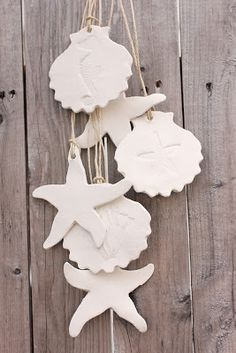 Beach House Living: Beach Decor Coastal Christmas Ornaments White Clay Seaside Decor and Wedding Favors