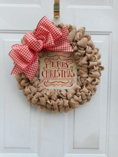 Christmas burlap wreath Country wreath Rustic by ChloesCraftCloset