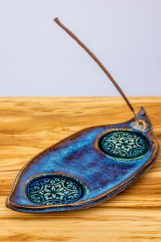 Weiteres - Räucherstäbchenhalter aus Keramik in orientblau - ein Designerstück von Close-to-nature bei DaWanda