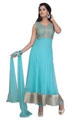 Aqua Blue Color Net Ready-made Salwar Suits ( Sizes - 36, 38, 40, 42, 44 ) : Rajeshwari Collection  YF-42306
