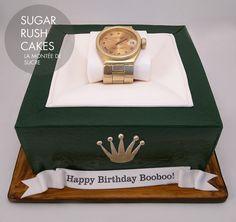 Rolex Watch CakeRef :5017 Read more<a style='margin-top:-5px;' href='//pinterest.com/pin/create/button/?url=http://www.sugarrushcakes.com/rolex-watch-cake/&media=http://www.sugarrushcakes.com/wp-content/uploads/2016/06/IMG_20160514_191439.jpg&description=Rolex Wa...