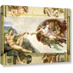 Michaelangelo's The Creation Of Adam Gallery-Wrapped Canvas, Size: 36 inch x 48 inch, Brown