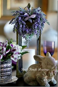 Purple table with bunny and lantern.