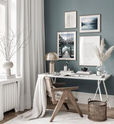 Gallery Wall Inspiration - Shop your Gallery Wall Home Office Space, Home Office Design, Home Office Decor, Home Interior Design, Home Decor, Blue Home Offices, Office Ideas, Living Room Decor, Bedroom Decor