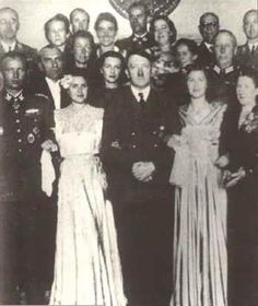 Berghof - The woman in the photo on the left is sometimes labeled as Eva, but this is Gretl on her wedding day. On 3 June 1944, Gretl Braun married Hermann Fegelein, an SS-Obergruppenführer on the staff of SS chief Heinrich Himmler. The reception took place in the Berghof (the group is in front of the fireplace in the Great Room), and a party followed at the Kehlsteinhaus.
