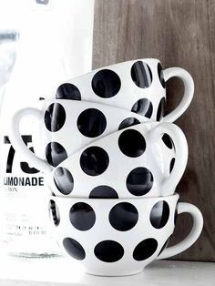 Adorable black and white polka dot cups. How cheery are these? Polka Dot Party, Polka Dots, Connect The Dots, White Cottage, My Cup Of Tea, Black N White, Black Dots, Decoration, Tea Pots