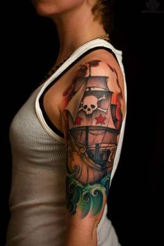 What does pirate tattoo mean? We have pirate tattoo ideas, designs, symbolism and we explain the meaning behind the tattoo. Pirate Tattoo, Pirate Themed Tattoos, Pirate Skull Tattoos, Pirate Ship Tattoos, Arm Sleeve Tattoos For Women, Tattoo Sleeve Designs, Tattoo Designs For Women, Tattoo Sleeves, Women Sleeve