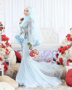Muslimah Wedding Dress, Muslim Wedding Dresses, Bridal Dresses, Wedding Gowns, Prom Dresses, Bridal Hijab, Hijab Bride, Wedding Hijab, Baby Blue Dresses