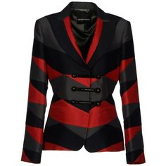 Emporio Armani Blazer ($350) ❤ liked on Polyvore featuring outerwear, jackets, blazers, coats, coats & jackets, red, patterned blazer, red blazer, multi color blazer and long sleeve jacket
