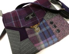 Crossbody Purse iPhone pocket, Recycled mens suit coat , Pink Purple Plaid Wool, Eco Friendly,  Back to School, Tote bag