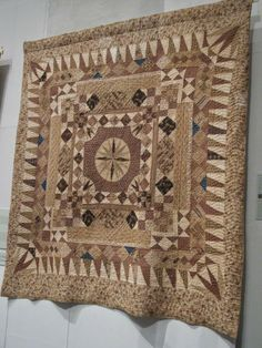 Medallion Quilt with Mariner's compass center. Welsh-made by Ann Morse c1825  Welsh Quilt Center, Lampeter.