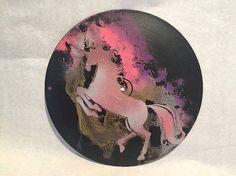Unicorn Art Wall Hanging 10 Upcycled Vinyl Record.