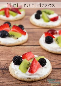 Mini Fruit Pizzas are a delicious and colorful dessert. They have a sugar cookie crust that is spread with a cream cheese mixture and topped with you choice of fruit (strawberries, blackberries, raspberries, blueberries, grapes, kiwis...). - Mini Fruit Pizzas Recipe on Gator Mommy Reviews