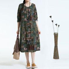 Autumn Retro Loose Long Sleeve Printed Dress