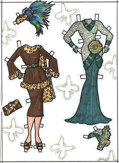 CARMEN MIRANDA Paper Doll is a one-of-a-kind hand-drawn set made by David Zurlin as a raffle prize for the 1991 National Paper Doll Convention in Los Angeles 5 of 7