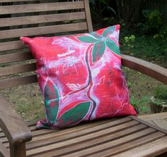 Decorative red throw pillow set painted red green by NewCreatioNZ