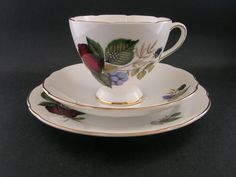 Gladstone Vintage Bone China Trio Cup Saucer Plate Fruit 6596 circa 1960 s Gladstone, Bone China, Cup And Saucer, Tea Cups, Porcelain, Pottery, Plates, Fruit, Tableware