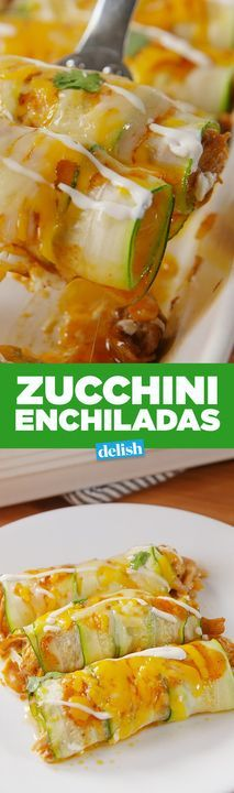 Enchiladas You can turn zucchini into Zucchini Enchiladas with this genius trick. Get the recipe from .You can turn zucchini into Zucchini Enchiladas with this genius trick. Get the recipe from . Veggie Recipes, Mexican Food Recipes, Low Carb Recipes, Vegetarian Recipes, Cooking Recipes, Healthy Recipes, Large Zucchini Recipes, Vegetarian Tapas, Salads