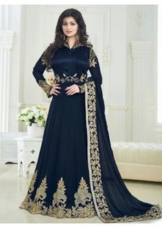 Ayesha Takia In  Navy Blue Banglori Silk Anarkali Suit  - 179