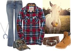 """Off to the barn"" by country-girls-world ❤ liked on Polyvore"