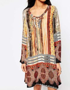 Image 3 of Glamorous Petite 70'S Printed Swing Dress With Lace Up Front