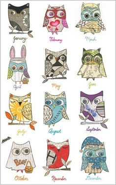 "How cute is this ""owl a month"" calendar?  I love the owl disguised as a bunny for April."