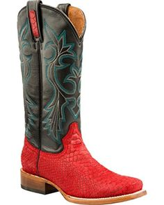 Roper Womens Embossed Exotic Red Faux Python Leather Square Toe Cowboy Boots 9 B - Brought to you by Avarsha.com