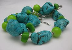 Lovely Turquoise Chunk and Green Glass Necklace 20 inches from antiquesalad on Ruby Lane