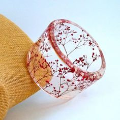 READY TO SHIP Red Botanical Resin Bangle   by SpottedDogAsheville, $44.00