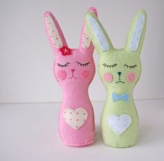 Mr & Mrs Bunny cute Easter home decor. New design that I am working on, PDF pattern soon at my Etsy Shop