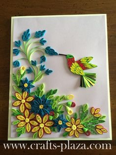Quilled Flowers and Bird Frame