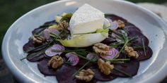 Try this Beetroot Carpaccio with Holy Goat La Luna cheese recipe by Chef Matt Moran. This recipe is from the show Paddock To Plate. Bake Off Recipes, Beet Recipes, Cheese Recipes, Beetroot Carpaccio, Great Australian Bake Off, Beef Ribs, Vegetable Sides, Tasty Dishes, Veggie Dishes