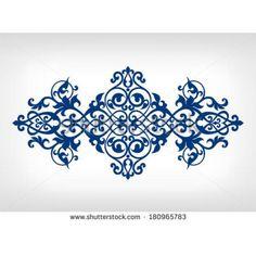 Vector vintage baroque calligraphy border frame card ornament flower motif arabic islamic retro pattern ornate