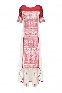 Red Baluchari Silk Peplum Top with Beige Gota Patti Lehenga Skirt #sumona #shopnow #elegant #ppus #happyshopping