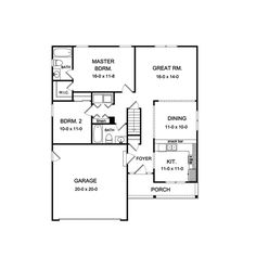 The Sidney Falls Ranch Home has 2 bedrooms and 2 full baths. See amenities for Plan 070D-0699.