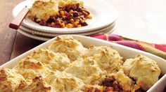Try this tasty casserole that has all the flavors of a taco plus a delicious cheesy biscuit top!
