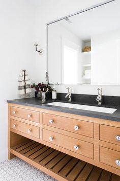 studio mcgee bathroom, wood vanity with dark countertops Trough Sink Bathroom, Wood Bathroom, Basement Bathroom, Bathroom Ideas, Bathroom Modern, Bathroom Vanities, Bathroom Vanity With Drawers, Cloakroom Sink, Navy Bathroom