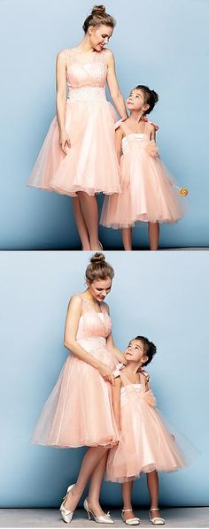 Chic evening dresses for mother and daughter in light peach colors. Make your special day truly special. A set of two for $129.99