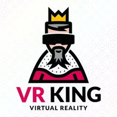 For sale at https://stocklogos.com/logo/virtual-reality-king  The logo is ideal for a game developer, virtual reality shop, virtual reality magazine, goggles manufacturer, VR videogame manufacturer.  Logo by @brandmaistro