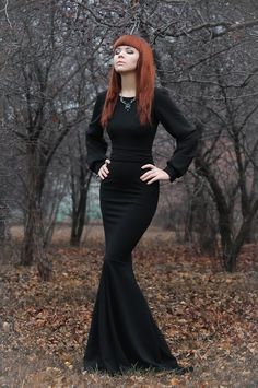 Awesome black gothic dress / women's fashion dresses