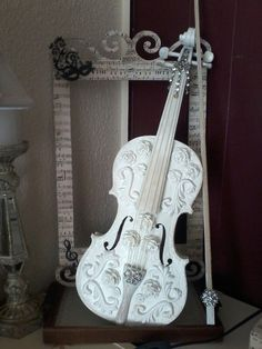 I did it I love it decorated shabby chic violin and music frame