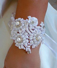 Vintage Inspired Bridal cuff bracelet or choker of lustrous white pearls, rhinestones, sequins & satin flowers.