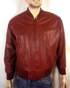 vtg 80s Mixed Blues brown Leather Jacket Cafe Racer Biker Motorcycle men's M | eBay