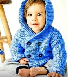 Двубортная детская кофта с капюшоном схема спицами » Люблю Вязать