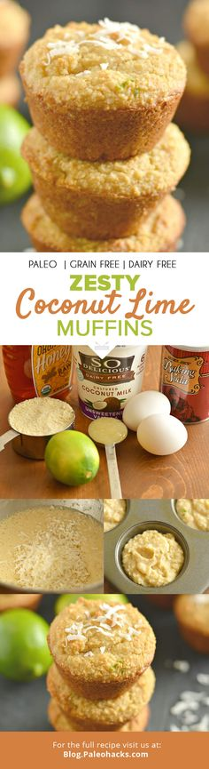 These Zesty Paleo Coconut Lime Muffins are a healthier-for-you, low-carb treat. Lightly sweetened, thick, and creamy, these muffins are perfect for breakfast—or as a snack! For the full recipe visit u Coconut Recipes, Paleo Recipes, Whole Food Recipes, Cooking Recipes, Lime Recipes, Family Recipes, Delicious Recipes, Paleo Dessert, Paleo Sweets