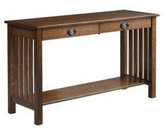 Amish Liberty Mission Hall Table For foyer, living room or hall, the Liberty looks stunning in solid wood mission style. Customize this wood furniture in the wood type and stain of your choice. Amish furniture made in America.