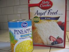 Take a box of Angel Food Cake mix , and combine it with a 20 ounce can of crushed pineapple in its own juice. When you do this, something magical happens. The mixture starts to froth and it turns into an amazingly airy, fluffy bowl of deliciousness right before your eyes. Once its all mixed up, simply pour it into a 9 x 13 baking dish and bake it at 350 degrees for 30 minutes.