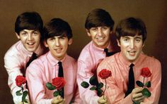 """in-my-life-i-love-the-beatles: """"Happy Valentine's Day to my fellow Beatlemaniacs! Accept a rose from our boys ! """""""